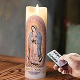 6.7 '' Flammenlose Led echtwachs Kerze mit Fernbedienung und Timer,batterie elektrisch beweglicher flamme Kerzen,Unserer Lieben Frau von Guadalupe Gebetskerzen