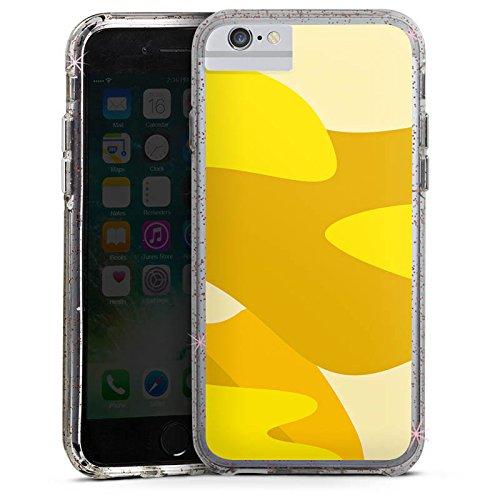 Apple iPhone X Bumper Hülle Bumper Case Glitzer Hülle Pattern Muster Gelb Bumper Case Glitzer rose gold