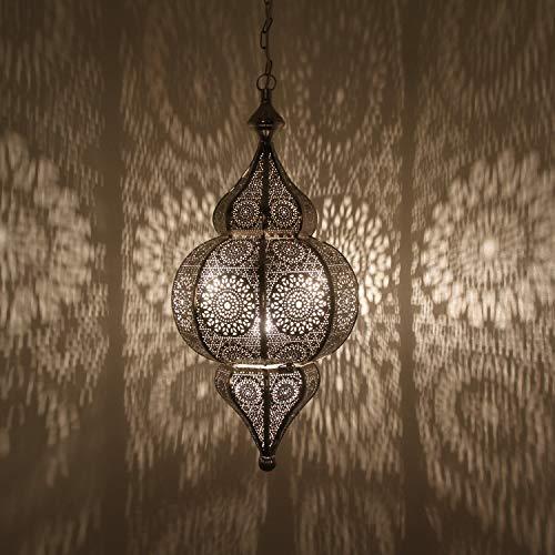 Orientalische Lampe marokkanische Pendelleuchte Melisa Silber H 54 cm E27 Fassung   Prachtvolle Deckenleuchte Silberlampe für tolle Lichteffekte wie aus 1001 Nacht   Kunsthandwerk aus Marokko   LN2010