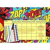 kids2learn Superhero Reward Chart for Children - Boys Personalised behaviour chart