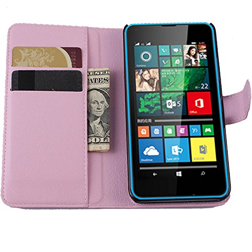 Tasche für Microsoft Lumia 640 Dual-SIM Hülle, Ycloud PU Ledertasche Flip Cover Wallet Case Handyhülle mit Stand Function Credit Card Slots Bookstyle Purse Design rosa