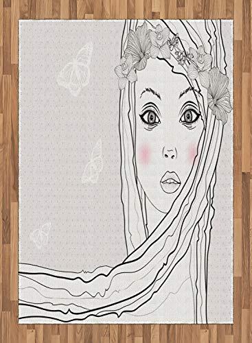 ABAKUHAUS Teen Zimmer Teppich, Mädchen mit Blumenhaar, Deko-Teppich Digitaldruck, Färben mit langfristigen Halt, 80 x 150 cm, Weiß Schwarz und Perle (Zimmer Teppiche Für Teens)