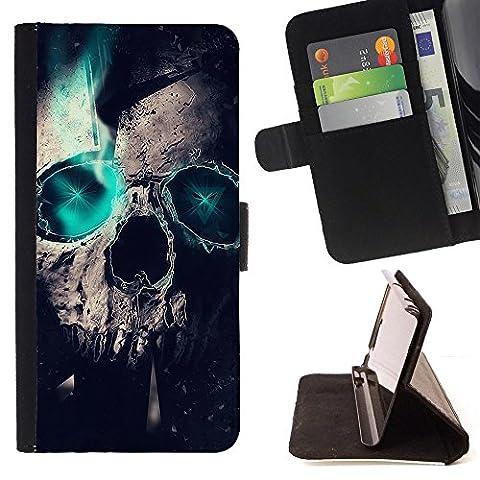 Kobe Diy Case / For Apple Iphone 4 / 4S Skull Green Teal Raven Crow Metal Ink Tattoo Folio PU Wallert Leather Case