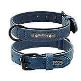 Kf Graviertes Leder weich verstellbares, gepolstertes Halsband, erstellen Sie Ihren eigenen Namen, einstellbar Hundehalsband 25-62cm (Farbe : Blau, größe : M)