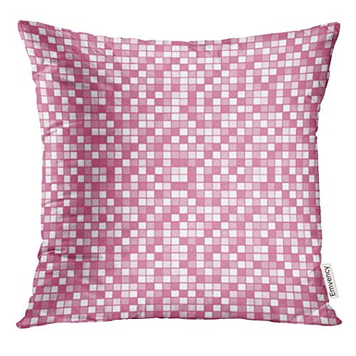 olorful Girly Light Pink Mosaic Abstract Decorative Pillow Case Home Decor Square 18x18 Inches Pillowcase ()