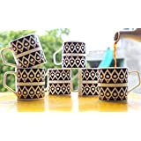Femora Bone China Classical Black Pattern Microwave Safe Tea Cup Coffee Mug For Office & Home, Set Of 6, 185 Ml- 1 Year Warranty