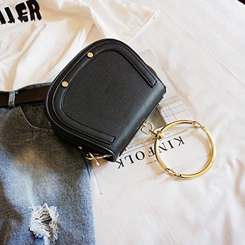 Weibliche Einzelne metall tragbare kleine runde tasche Schulter messenger bag Schwarz
