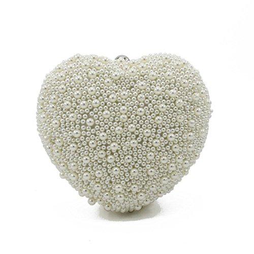 GBT Herzförmige weiße Perle Kosmetiktasche White