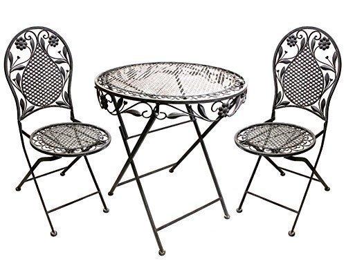 Terrassen Set aus Eisen Antik Design besteht aus 1 Tisch und 2 Stühlen Antik Grau