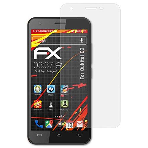 atFolix Schutzfolie kompatibel mit Oukitel C2 Bildschirmschutzfolie, HD-Entspiegelung FX Folie (3X)