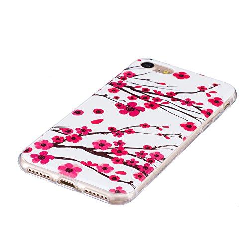 iPhone 7 Hülle, E-Lush TPU Soft Silikon Tasche Transparent Schale Clear Klar Hanytasche für Apple iPhone 7 (4.7 Zoll) Durchsichtig Rückschale Ultra Slim Thin Dünne Schutzhülle Weiche Flexibel Handyhül Prune Fleur