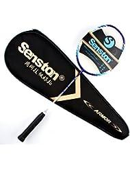 Senston Actuación Alta calidad Todo grafito Única raqueta de bádminton (4U-G4 / G5) de 7 colores con la raqueta de la cubierta