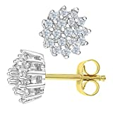 Naava Women's 0.25 ct Diamond Cluster 9 ct Yellow Gold Stud Earrings Bild 1