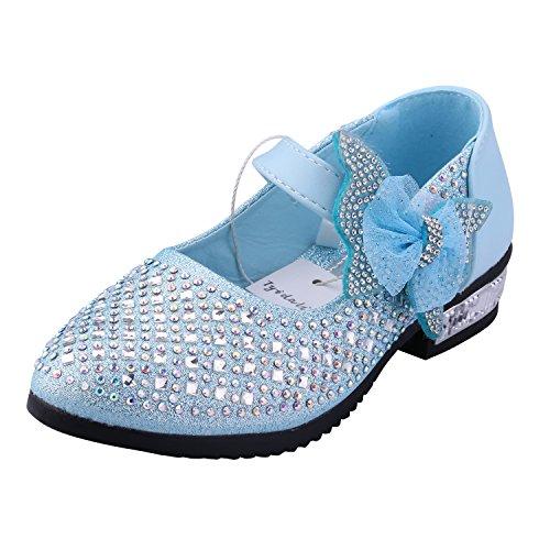 db3599061fa762 Kinder Ballerinas Mädchen Pinzessin Schuhe Mary-Jane-Halbschuhe - Tyidalin  Rhinestone-Verschönerung Absatz Schuhe Klettband mit Schleife Glitzer für  ...