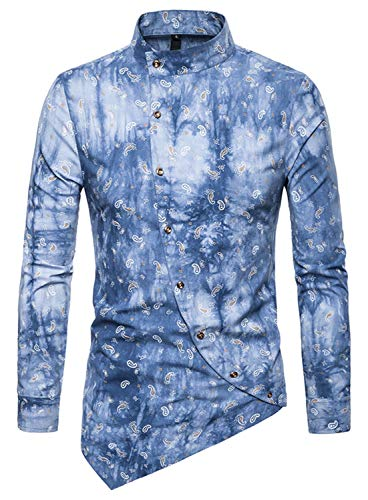 Whatlees Herren Paisley Langarm Hemden - mit Stehkragen Asymmetrischem Design und Durchgehendem Print BA0068-lightblue-S