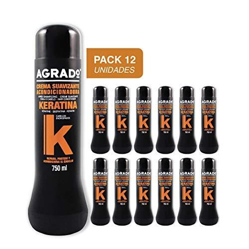 Crema Suavizante, Acondicionadora Keratina para cabello encrespado Agrado 750 ml - Pack 12 unidades