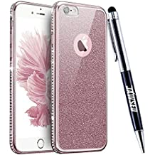 Funda iPhone 6S Plus, Carcasa Caso iPhone 6 Plus, JAWSEU Apple iPhone 6/6S Plus 5.5 Carcasa Caso Cover Purpurina llamativa Brillo Lujo Moda Ultra Delgado Silicona Suave Carcasa Estuche para iPhone 6S/6 Plus Protectivo Parachoques Tapa Trasera Shell Cubierta Brillante Crystal Diamante Bling Enchapado Funda para Apple iPhone 6 Plus / iPhone 6S Plus - Diamante, Oro Rosa