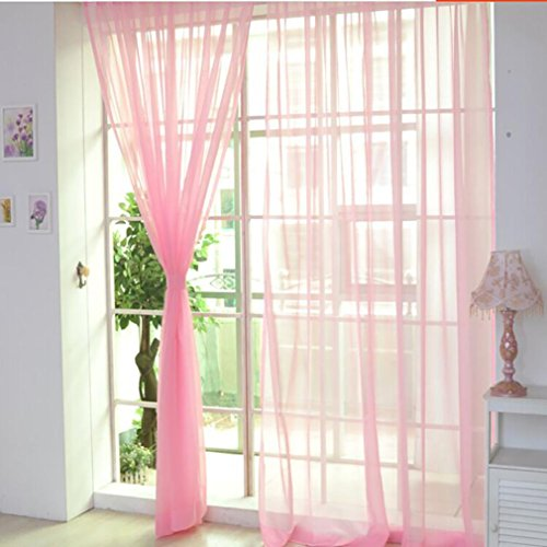 1/2PCS Sheer Voile Vorhänge, Türkei Farbe diesig Tüll Fenster Behandlung Platten Vorhänge Schal Volants für Wohnzimmer, Schlafzimmer, Home Decor, 200x 100cm oder 270x 100cm, J, 2Pc : 200 X 100CM Vorhänge Gelb Volant