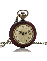 ShopyStore Vintage Wood Circle Around Fish Eye Clear Glass Ball Pocket Watch With Chain P13
