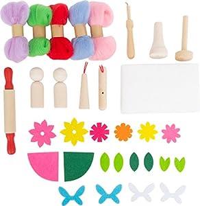 Small Foot 10580 - Juego de Fieltro para niños con Diferentes Materiales de Fieltro de Colores y Accesorios de Fieltro y Elementos de Madera en los Que se Puede Fieltro