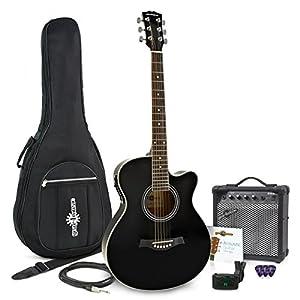 Kit chitarra elettroacustica cutaway + amplificatore da 15W nera
