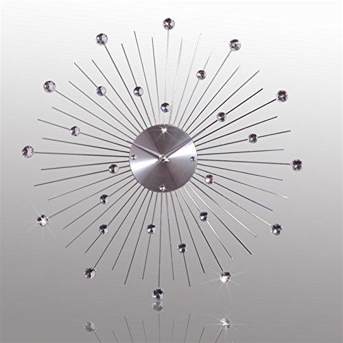 DESIGN WANDUHR SUNBURST KRISTALL Ø 50cm von XTRADEFACTORY Uhr Wanddeko Zeit silber