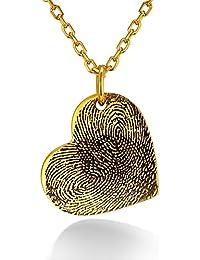 c6d4561343a2 Custom4U Corazón Personalizado Colgante Plata de Ley 925 Chapado en  Oro Platino Collar Exclusivo de Huella Dactilar y Manuscrito…