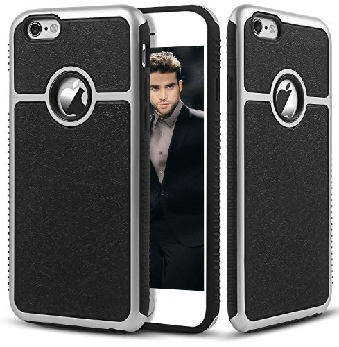 iPhone 6S Plus Hülle, Pasonomi® iPhone 6 Plus Ultra dünne Defender Silikon Bumper Case Handy Tasche Etui Schutzhülle für Apple iPhone 6/6S Plus (5,5 Zoll) (Schwarz / Silber) Silber