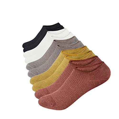 Anliceform Calcetines de mujer, de corte bajo, antideslizantes, 5 pares de calcetines de algodón cortos sin tobillo para uso deportivo.