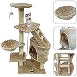 Árbol para gato de color beige con rascador – Torre para rascar de sisal natural