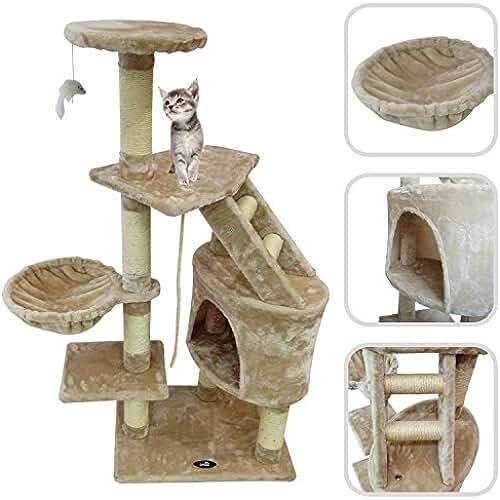 regalos kawaii gato Todeco - Árbol para Gatos, Escalador para Gatos - Material: MDF - Material de revestimiento: Terciopelo - 120 cm, 5 plataformas, Beige