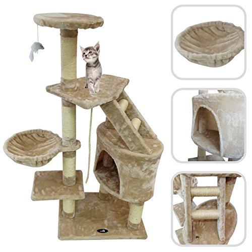 Kratzbaum, Katzen Kletterbaum - Material: MDF - Abdeckmaterial : Samt - 120 cm, 5 Plattformen, Beige