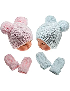 Baby Jungen Mädchen Strick Winter Bommel Pompon Hat Pink Sky Blau mit Fäustlinge N/b-12mths, rose, NEWBORN-12...