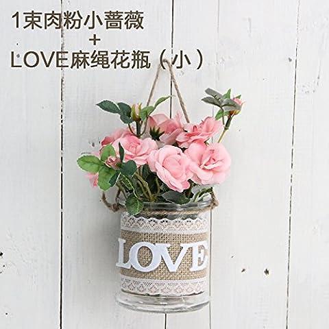 XMJR Décoration murale tapisseries et tentures murales vases décorations mur créatif accueil salon mur mur sur le mur de l'artisanat, les pots à fleurs roses rose pâle + petits vases Bow-tie