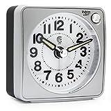 JCC Sehr klein Hosentaschengröße Analog Reisewecker, lautlos ohne ticken Handheld Größe Quarz Clock mit Licht Nacht, Snooze Funktion zum Reisen, Backpacking und Camping - batteriebetrieben - Silber(Round Dial)