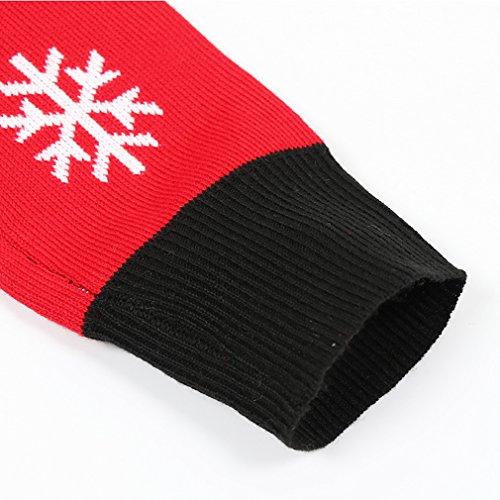 Unisex Weihnachten Pullover,Leapparel Herren und Damen Strickpullover Ugly Christmas Sweater Jumper Fasching Kostüm Falsch Zwei Stück Rot