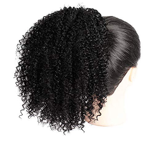 Stylish Pure Black Synthetic Curly Ponytail Afro Kinky Hair Extension Drawstring Puff Wig Party Club Wigs For Women Girl