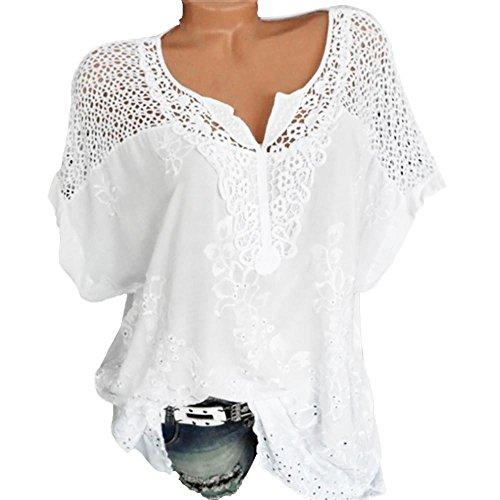 Guesspower T-Shirt Femme Manche Courte Casual Eté Tops Col V Hauts Blouse Chic Tee Shirt Chemise Grande Taille Oversize Décontractée Ete évider Solid Blouse Casual Top Tee-Shirt, S-XXXXXL