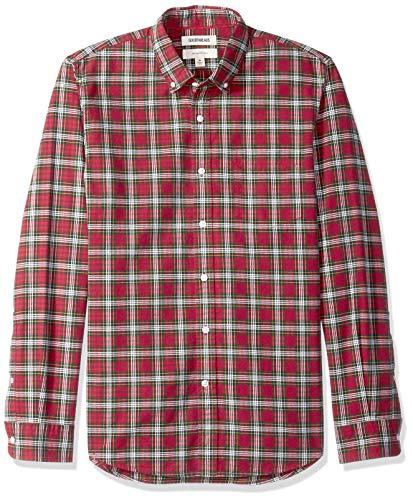Men's Fit Tartan Shirt Oxford Small Long Slim Sleeve Goodthreads Redgreen Eqw6xdAWY