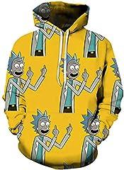 Idea Regalo - Chaos World Felpe con Cappuccio Uomo 3D Funny Cartoon Felpa con Stampa Hoodie Unisex Pullover Sweatshirt (Dito Medio,2XL(Tag 3XL))