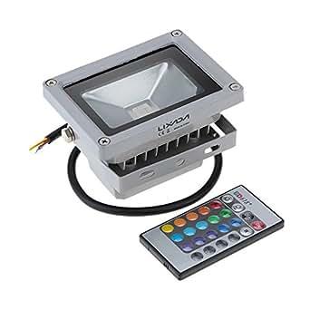 Lixada PMS Projecteur LED 10 W SMD LED IP65 RVB avec télécommande