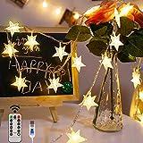 Led Lichterkette Sterne Lichterkette, 80LEDs 10M Hängend Warmweiß Lichterkette 8 Modi USB Sterne Lichterkette mit Fernbedienung für Party, Weihnachten, Halloween, Hochzeit oder Stimmung Lichter