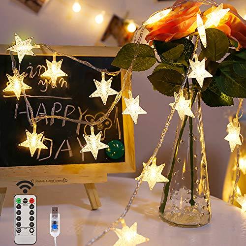VEGKEY Led Lichterkette Sterne Lichterkette, 100LEDs 10M Warmweiß Lichterkette 8 Modi USB Sterne Lichterkette mit Fernbedienung für Party, Weihnachten, Halloween, Hochzeit oder Stimmung Lichter
