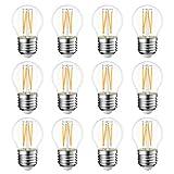 4W E27 Filament LED Glühfaden G45, 2700K Warmweiß, Ersatz für 40W Glühlampe, ultrahell 470 lm, Rustikalampe Filamentstil klar (12er Pack) - LVWIT