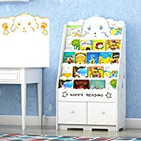 GNSDA Wooden Kids Bookcase, with Hand Crafted Designs and Toy Storage, Double-sided white bookshelf, Kids
