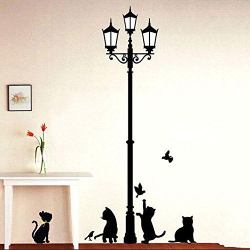 afzimmer Veranda Hintergrund Aufkleber Street Lampe Cute Cat Raum Dekoration Wandtattoo ()