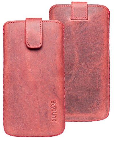Suncase ECHT Ledertasche Leder Etui für iPhone 8 / iPhone 7 / iPhone 6s Tasche (mit Rückzugsfunktion und Magnetverschluss) rustik-tabak braun antik-rot