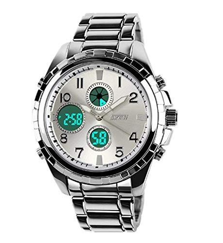 57-PAIOUPAIOU Stilvolle Herren Dual Time Zone Uhren Digital Casual Business Armbanduhr mit Edelstahl (Armbanduhr Time Digital Edelstahl Dual)