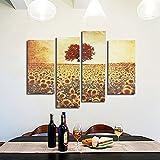 4 stuck frameless ol gemalde sunflower canvas modern mauer