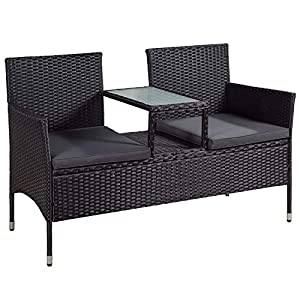 ArtLife Polyrattan Gartenbank Monaco mit integriertem Tisch schwarz | dunkelgraue Bezüge | Sitzgruppe Terrassenmöbel Balkonmöbel